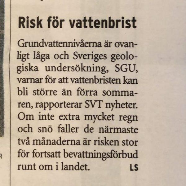 Risk för vattenbrist…